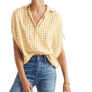 Madewell Central Ruched Sleeve in Gingham Check
